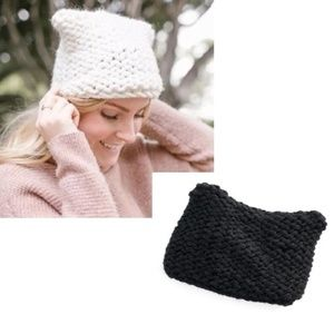 LC Chunky Knit Kitty Ear Beanie Hat - New w/ Tags